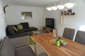 Wohnzimmer mit SAT-TV und gemütliche Essecke